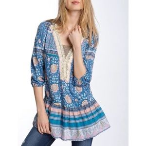 FREE PEOPLE Bohemian Floral Deep V Oversized Top S